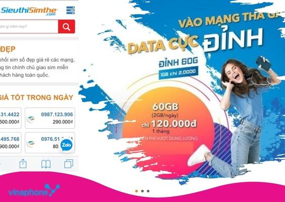 Gói cước D60G VinaPhone siêu ưu đãi Data lên đến 60GB/tháng